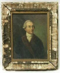 18th Century Oil On Canvas Portrait Painting Of A Noble Gentleman Circa 1700and039s