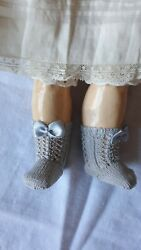 Antique Pattern Light Grey Socks With Bows For Antique Repro French German Doll