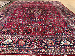 10x14 Red Vintage Wool Rug Hand-knotted Handmade Antique Handwoven Navy Oriental