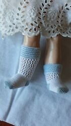 Antique Pattern White/ Blue Socks For Antique Or Repro French Or German Doll
