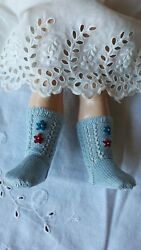 Antique Pattern Baby Blue Socks For Antique Or Repro French Or German Doll