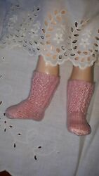 Antique Pattern Light Pink Socks For Antique Or Repro French Or German Doll