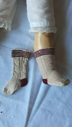Antique Pattern Beige Socks For Antique Or Repro French Or German Doll
