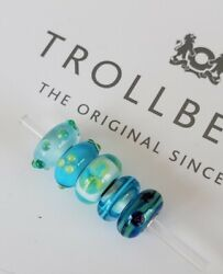 Authentic Trollbeads Glass Lot Of 5 Beads Charms Blue/green New