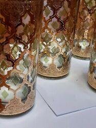 Set Of 4 Culver 22kt Gold Valencia Highball Glasses Mcm Beautifully Crafted..