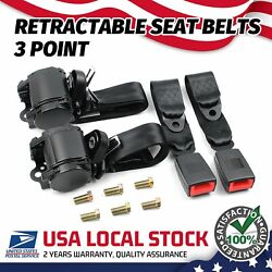 2x 3 Point Safety Seat Belt Straps Heavy Duty Car Truck Adjustable Retractable