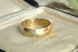 Genuine 1700and039s Antique English Silver Gilt Posy Wedding Ring And039i Reste Contenteand039