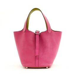 Hermandegraves Bag Sac Picotin 18 Pm 2007 Pink Grained Leather Silver Hdw