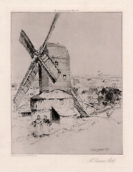 1800s Charles John Watson Original Etching View Of A Windmill Signed Framed Coa
