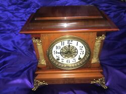 Antique Vintage Seth Thomas Mantle Clock Burled Wood As-is For Parts Beautiful