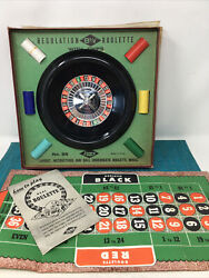 Vintage E.s. Lowe 8 Roulette Wheel Bakelite With Chips And Mat Original Box