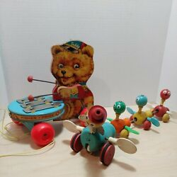 Vintage Fisher Price Wooden Pull Toys - Teddy Bear 741 And Duck Family 777