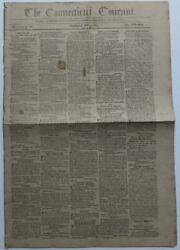 1809 The Connecticut Courant Hartford Hudson And Goodwin Pa Land Sale, Reward Etc.