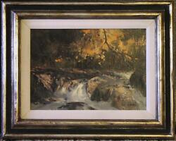 Early Original Oil By Tom Nicholas Na - Water Cascading Through A Rocky Course