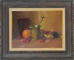 Important Herbert E. Abrams Oil Still Life With Pewter Cup Fruit And Wine Glass