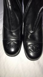 New Vintage Black Leather Cc Logo Toe Stacked Heel Boots Size 9.5