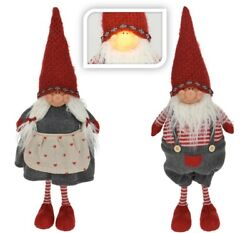 Traditional Christmas Gnome - Led Lightup Face Xmas Doll Ornament Decoration
