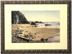 Large Original W/c By National Academician Kent Day Coes - A Day At The Beach