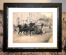 Large W/c By National Academician Walter Granville-smith The New York Fire Wagon
