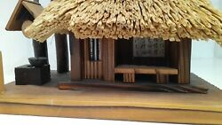 Japanese House Traditional Thatched Roof House Figure Figurine Musical Bonsai