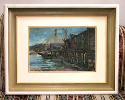Large Original Antique Harry Fenn Watercolor Two Masted Sailing Ship In Port