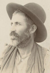 GRIZZLED COWBOY. BEARDED MAN IN HAT. CABINET CARD.