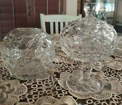 Vintage Clear Cut Depression Glass Fish Bowl Vase And Candy Dish Bowl With Lid
