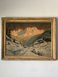 1930s Antique Winter Landscape Oil Painting Signed Plein Air Mountain Snow Cabin