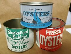 Lot Of 3 Vintage Oyster Cans