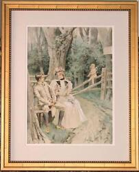 Ex Butterfield And Butterfield Antique Leon Moran Watercolor - Cupid's Bench