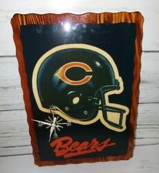 Vintage Chicago Bears Nfl Helmet Wood Lacquered Wall Art Clock 22 By 15