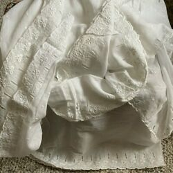 Vintage Cotton Floral Eyelet Fabric White Scallop Borders 8 Yards Early 1900and039s
