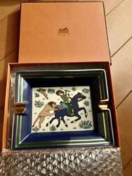 Hermes Ashtray Horse Lion White Navy Gold Green With Box Tray Rare From Japan