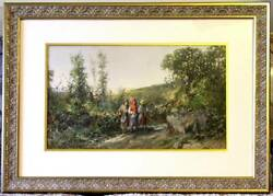 Original Antique George William Russell Watercolor - Landscape With Figures