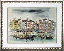 Large Original Watercolor By Eleanor Ingersoll Maurice A View Of Venice