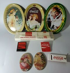Vintage Coca-cola Lot Of 9 Itemsmatches,pencils,mirrors,trays And Keychain