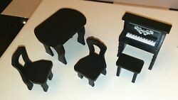 Barbie Kidkraft Amelia Wooden Dollhouse Furniture Table, Chairs, Piano, Bench