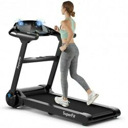 2.25hp Folding Treadmill Running Jogging Machine With Led Touch Display-black