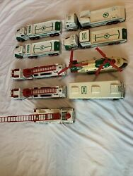 9 Hess Gasoline Toy Trucks And Helicopter Lot 1995-2002 - For Parts