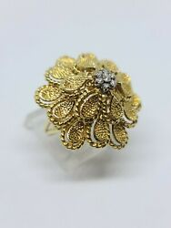 Detailed 18k Yellow And White Gold Big Flower Diamond Ring Size 8 Msrp 2,800