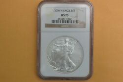 2008-w Burnished Silver Eagle Ngc Ms 70