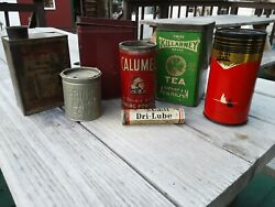 Vintage Lot Of 7 Collectible Advertising Tins Mobil Lube Tobacco Tea Powder ++