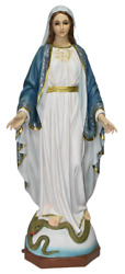 Our Lady Of Grace Blessed Mother 35 Inch Indoor And Outdoor Decorated Statue