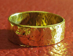 22k Pure Yellow Gold Ring Hand Hammered Celtic Classic Ring Sizes 9 To 12.