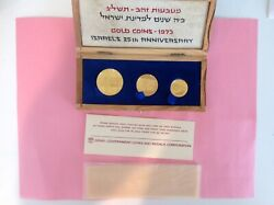 1973 Israel Proof Gold 3-coin Set 200/100/50 Lirot 25th Anniversary Bgs1