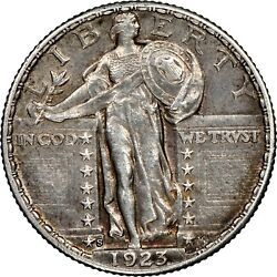1923-s Standing Liberty Quarter Ngc Au About Uncirculated Cleaned Almost Fh