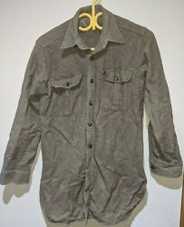 Vintage Korean War Canadian Army Wool Shirt 1953 Size 16 Neck 38 Inch Chest