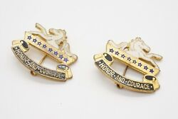 Wwii 8th Cavalry Regiment Honor And Courage Di Unit Crest Pins Set By Meyer Rare