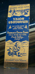 Vintage Matchbook Cover A1 California Death Valley Furnace Creek Camp Horse Hote