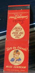 Vintage Matchbook Cover W4 Ohio Miss Sunbeam Let's Be Friends Cute Girl Bread